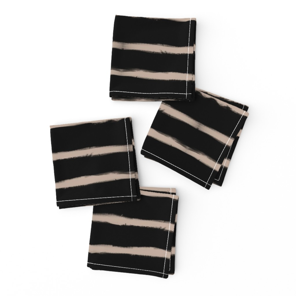Frizzle Cocktail Napkins featuring Medium Brush Strokes Horizontal Nude on Black by form_creative