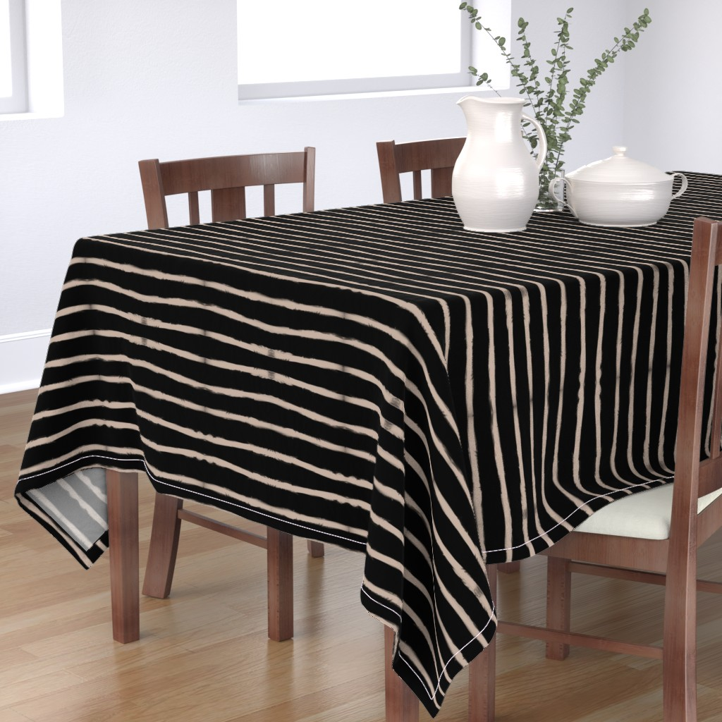 Bantam Rectangular Tablecloth featuring Medium Brush Strokes Horizontal Nude on Black by form_creative