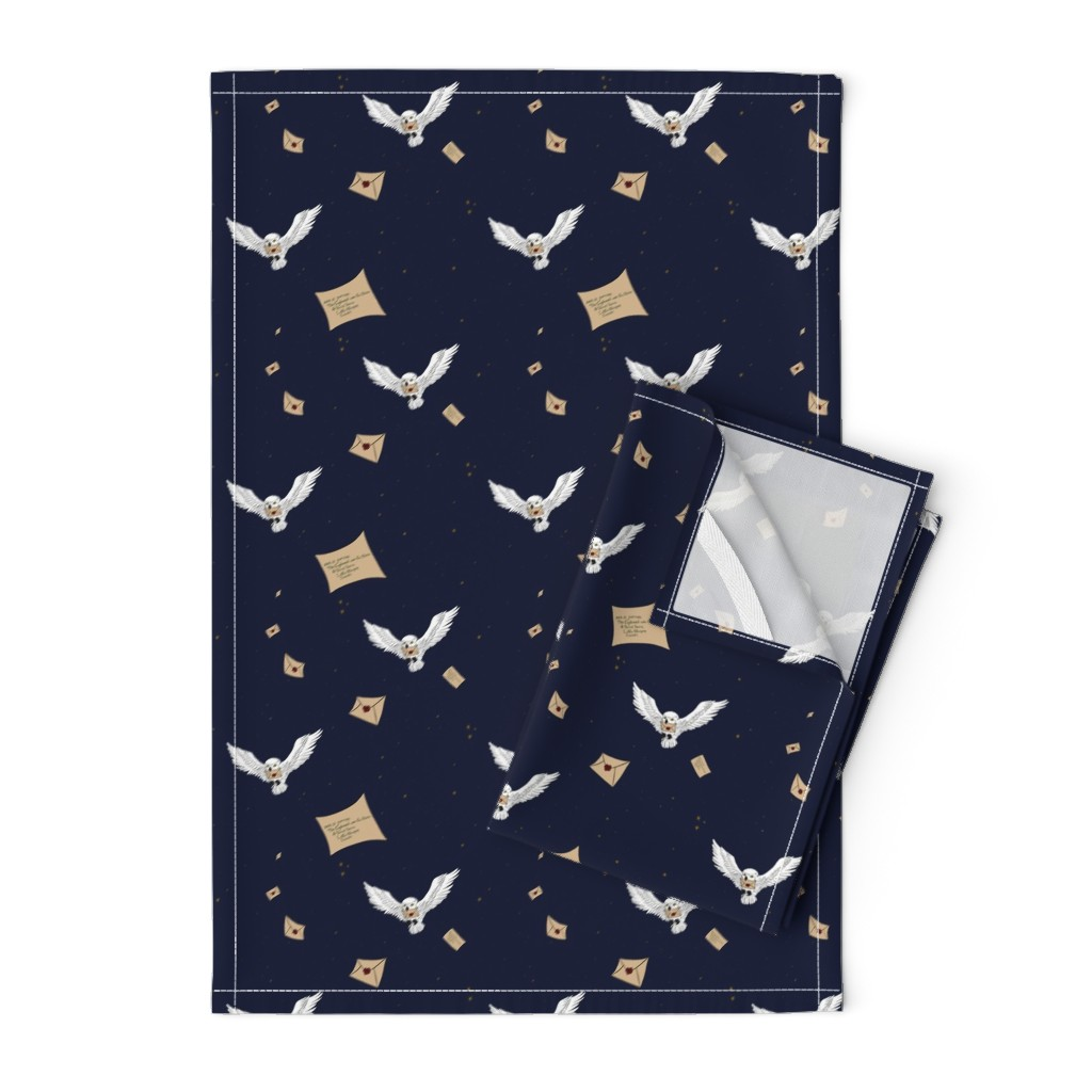 Orpington Tea Towels featuring Owl Post - 1/2 Size by sparkymonster