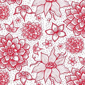 Hand drawn Flowers in Red