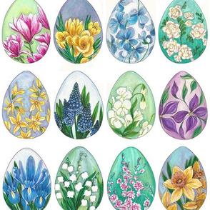 Spring Flowers on Easter Eggs