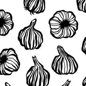 Modern Garlic in Black and White