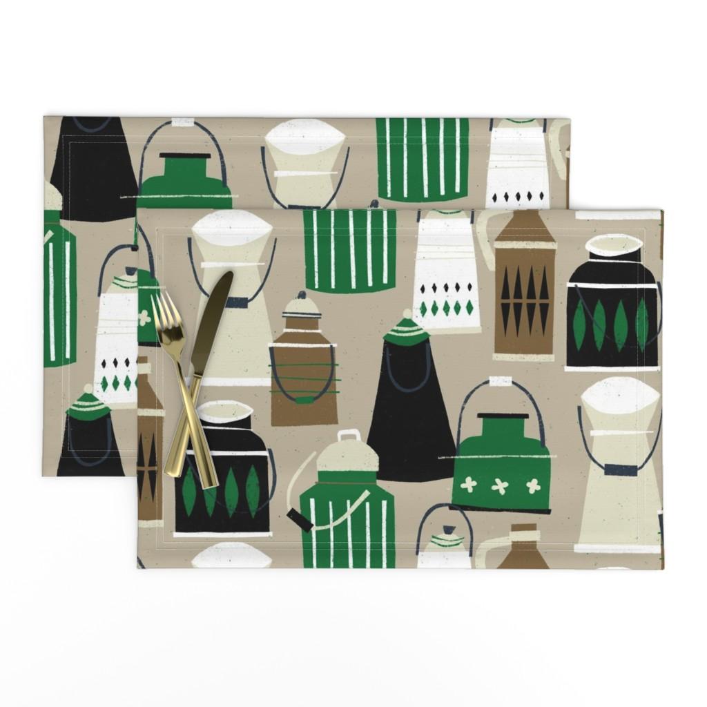 Lamona Cloth Placemats featuring MCM Milk Pails M+M Latte by Friztin by friztin