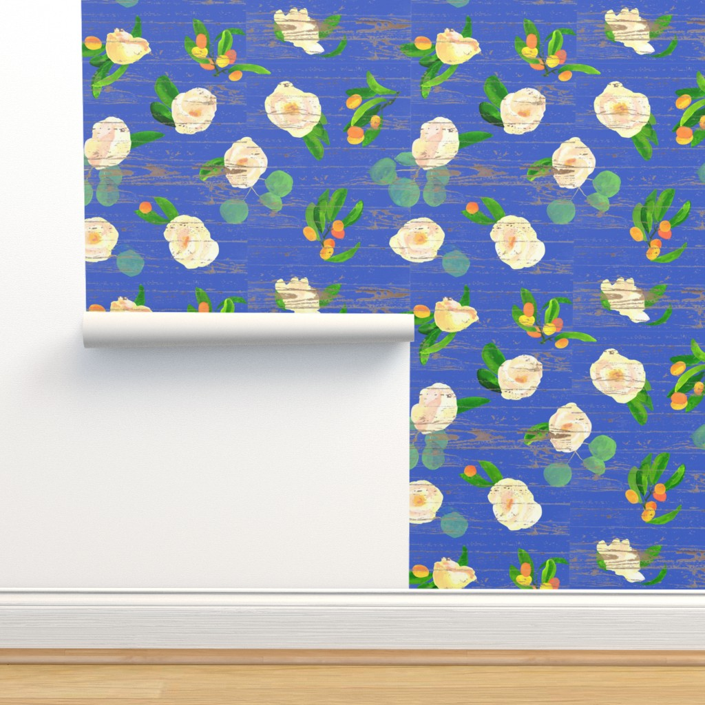 Isobar Durable Wallpaper featuring kumquats floral on wood by ghouk