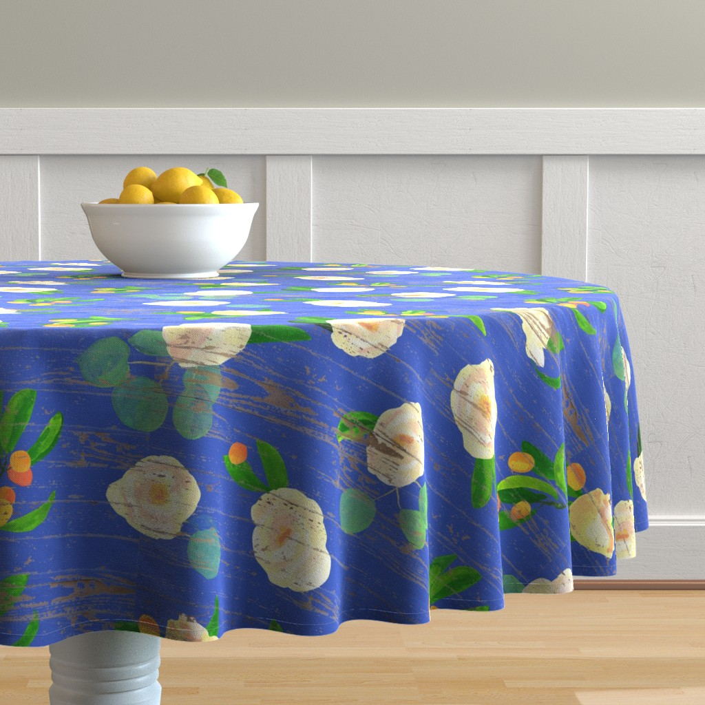 Malay Round Tablecloth featuring kumquats floral on wood by ghouk
