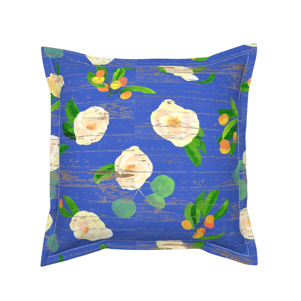 Serama Throw Pillow featuring kumquats floral on wood by ghouk