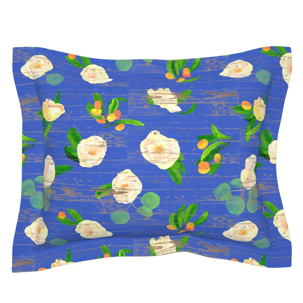 Sebright Pillow Sham featuring kumquats floral on wood by ghouk