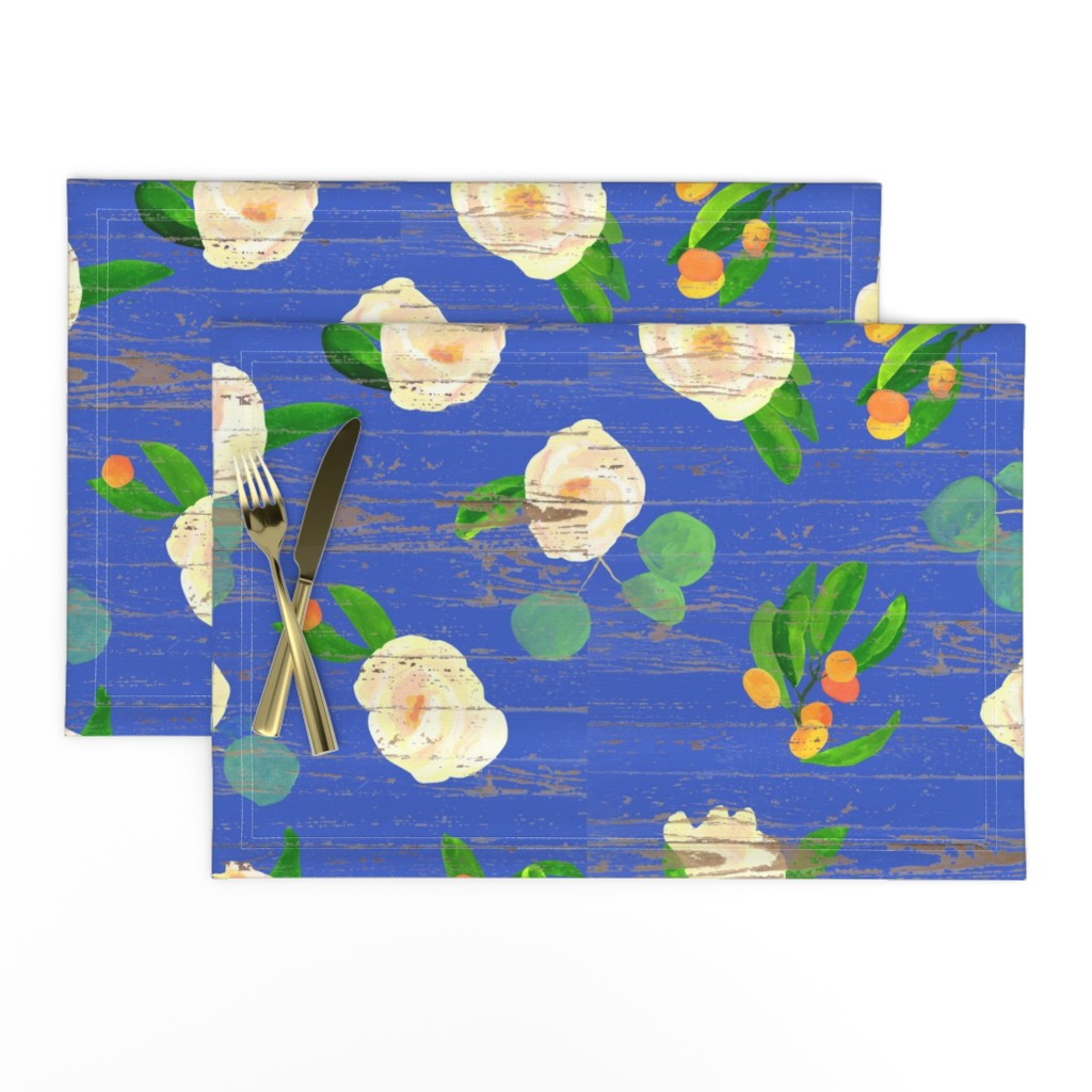 Lamona Cloth Placemats featuring kumquats floral on wood by ghouk