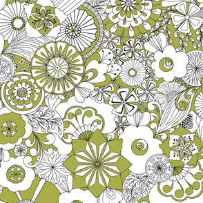 70s Flowers - Green and White