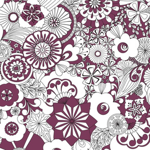70s Flowers - Purple and White