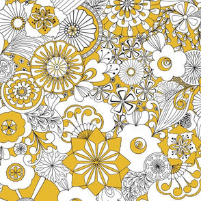 70s Flowers - Yellow and White