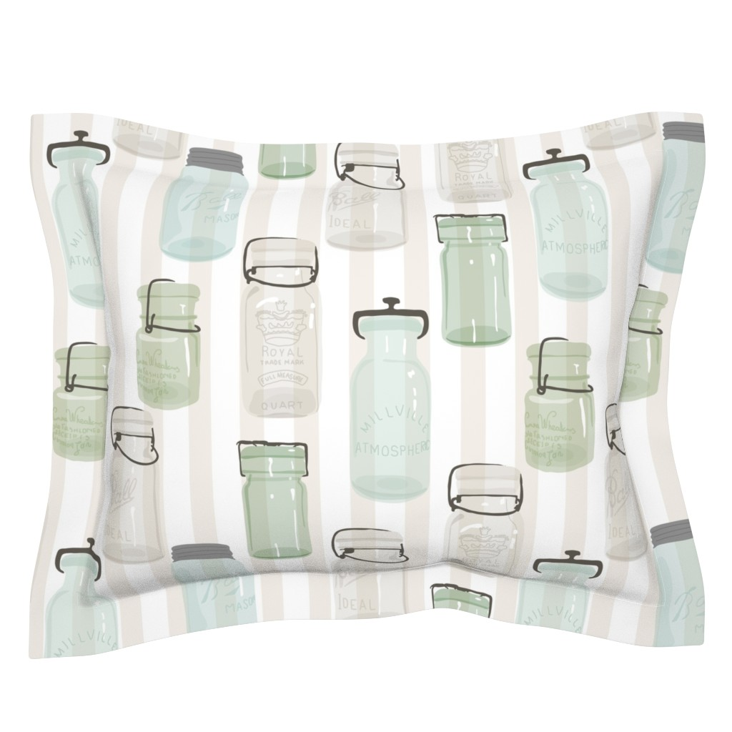 Sebright Pillow Sham featuring Canning Jars  by fernlesliestudio