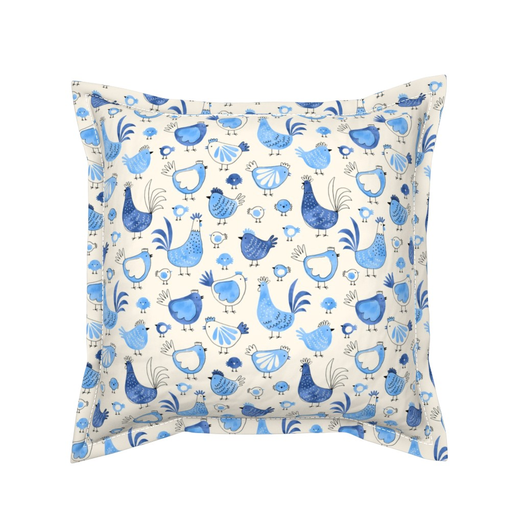 Serama Throw Pillow featuring Chicken and rooster in watercolor blue on creme by heleen_vd_thillart