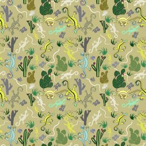 Hand drawn Geckos with Cactus plants,by Susanne Mason