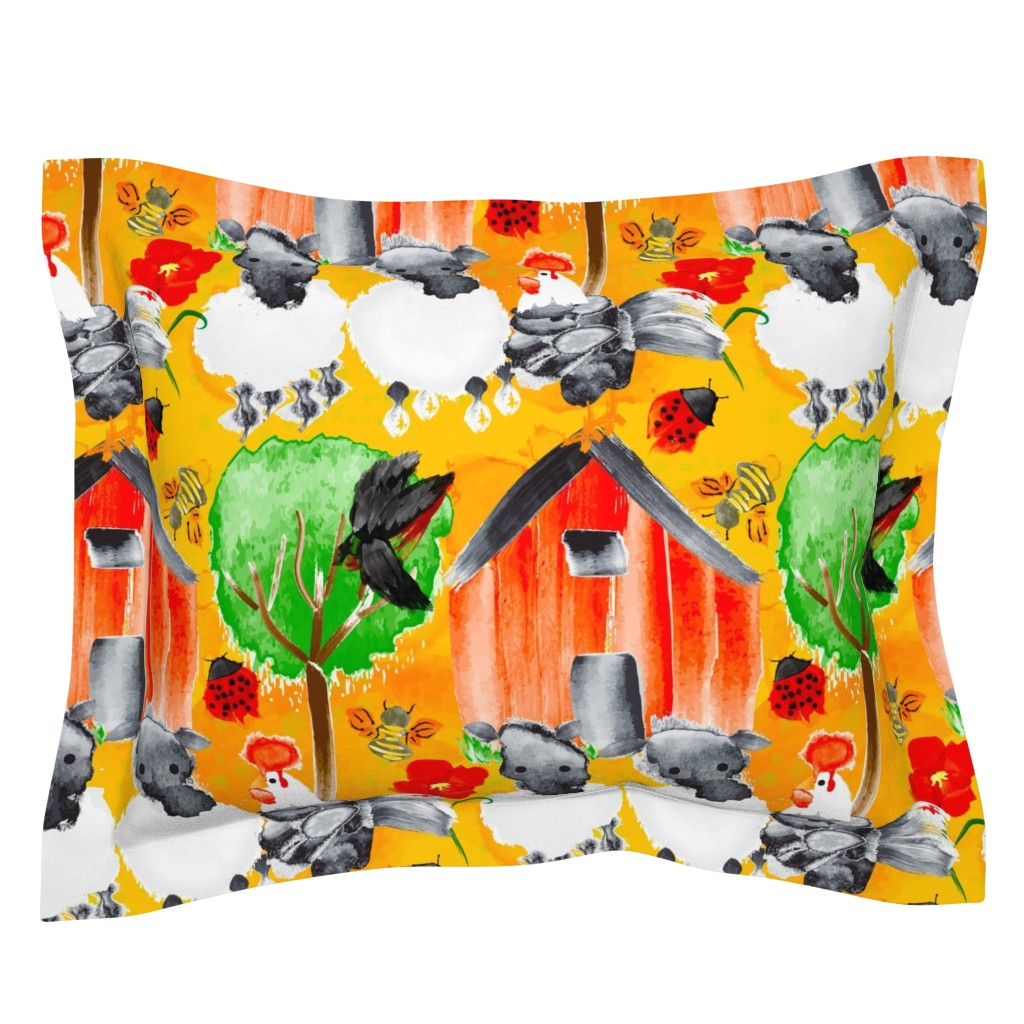 Sebright Pillow Sham featuring Spring Chicken Chronicles by orangefancy