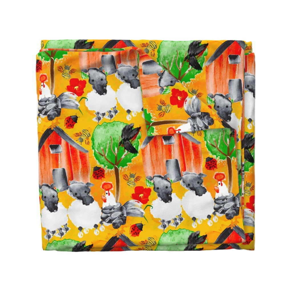 Wyandotte Duvet Cover featuring Spring Chicken Chronicles by orangefancy