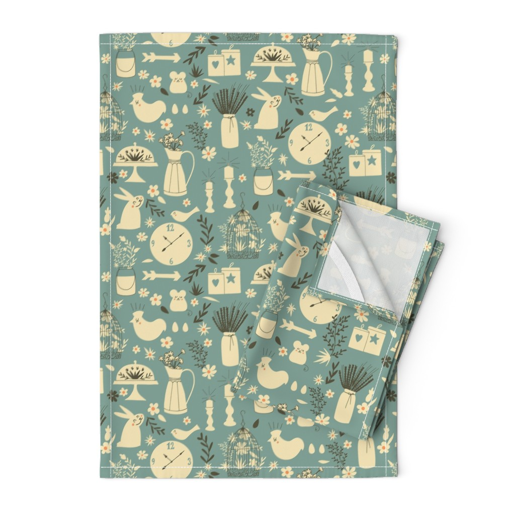 Orpington Tea Towels featuring Little friends at the farmhouse by natalia_gonzalez