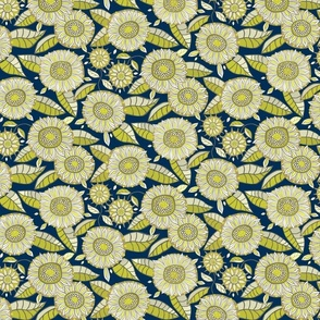 Farmhouse sunflowers - olive and navy
