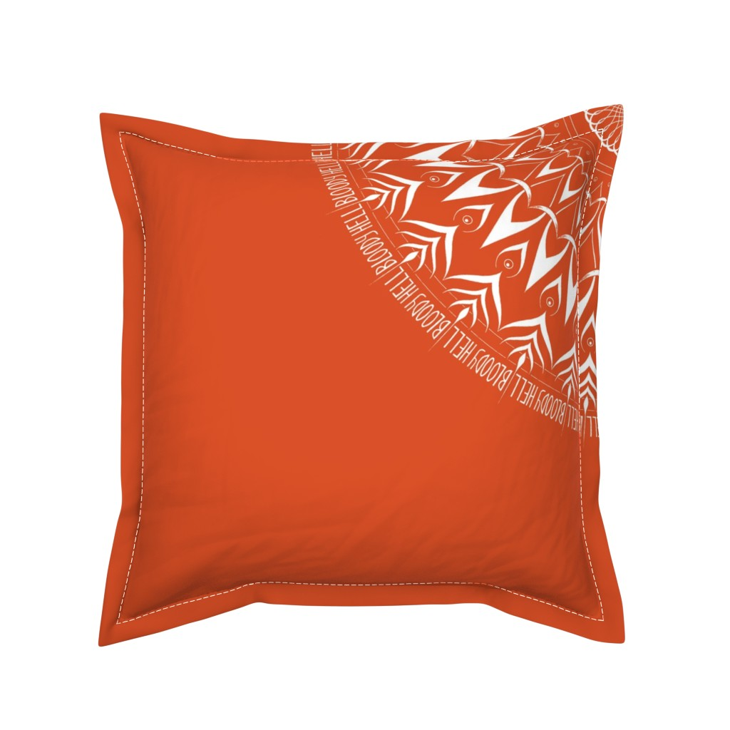 Serama Throw Pillow featuring Bloody Hell - mandala by secretbean