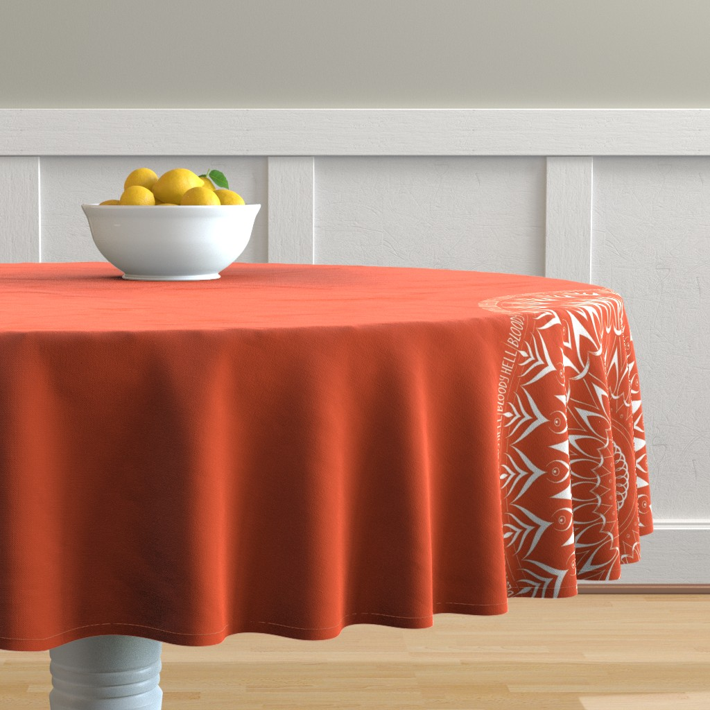 Malay Round Tablecloth featuring Bloody Hell - mandala by secretbean
