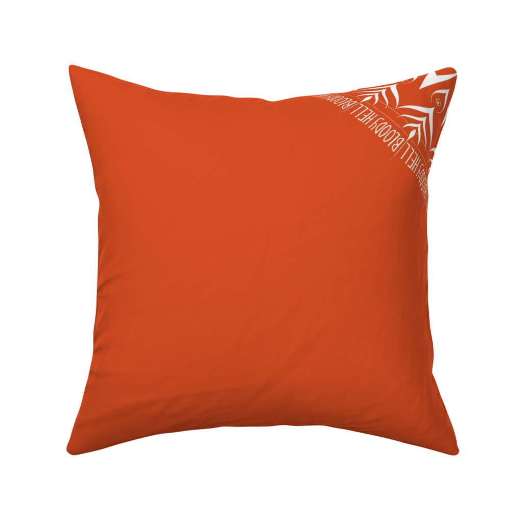 Catalan Throw Pillow featuring Bloody Hell - mandala by secretbean