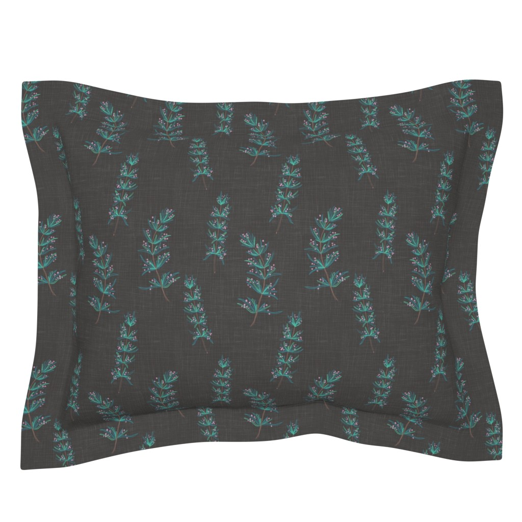 Sebright Pillow Sham featuring Rosemary Linen (onyx) by helenpdesigns