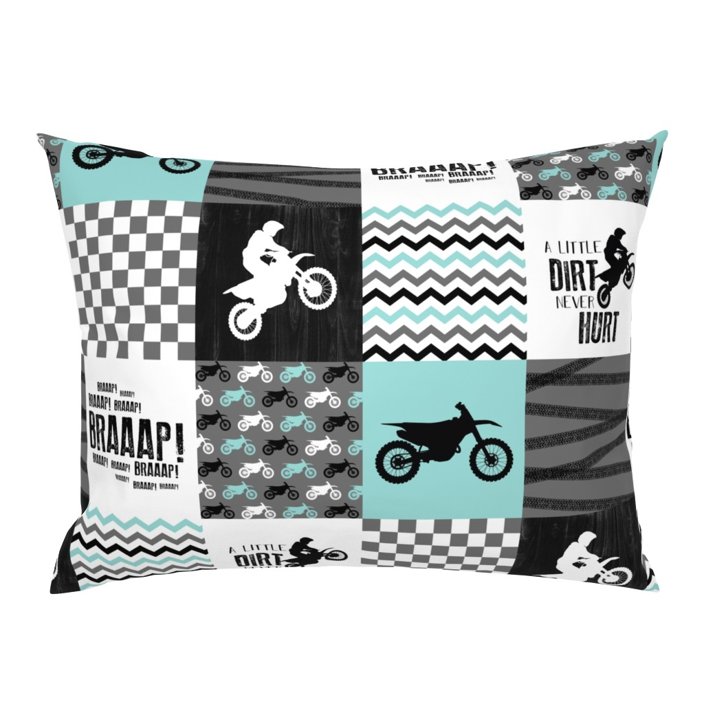 Campine Pillow Sham featuring Motocross//A little dirt never hurt - wholecloth Cheater Quilt - Aqua by longdogcustomdesigns