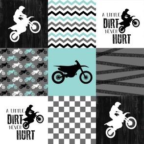 Motocross//A little dirt never hurt - wholecloth Cheater Quilt - Aqua