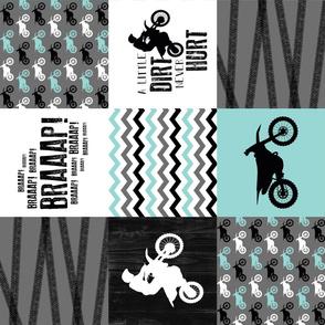 Motocross//A little dirt never hurt - Wholecloth Cheater Quilt - Aqua - Rotated