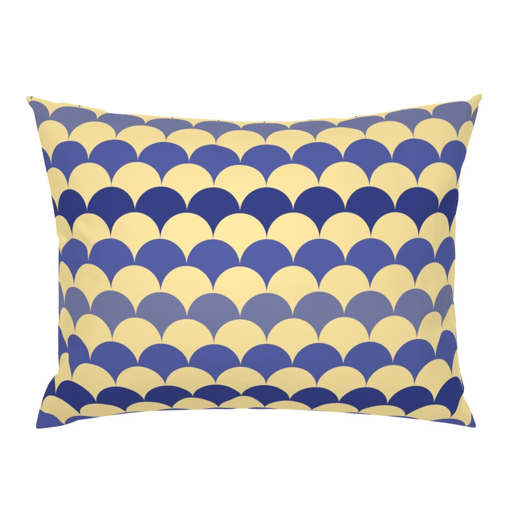 Campine Pillow Sham featuring Prussian blue + buttery-cream scallops  by Su_G by su_g