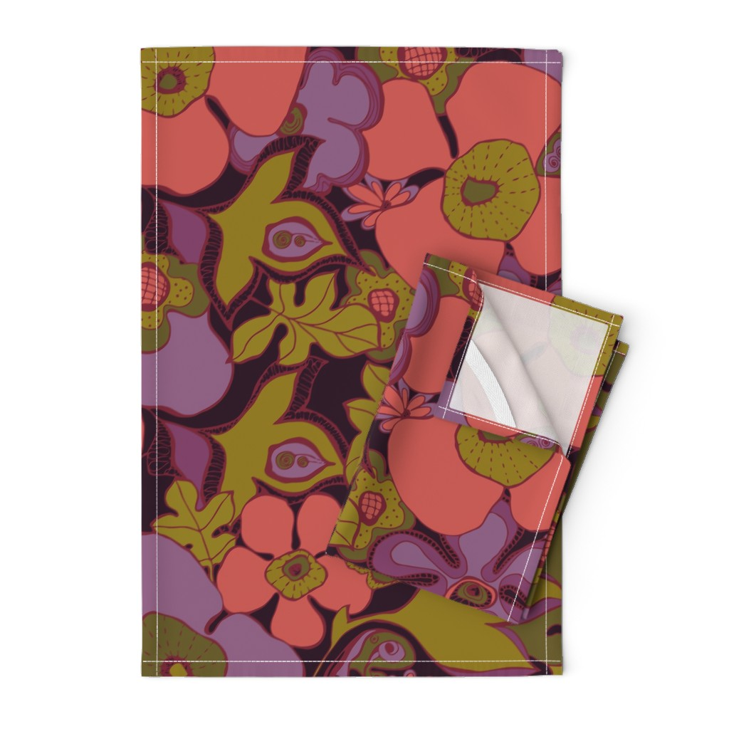 Orpington Tea Towels featuring Floral Doodles in purple coral olive by delinda_graphic_studio