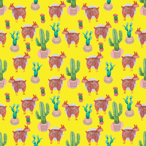 Llama and cacti yellow