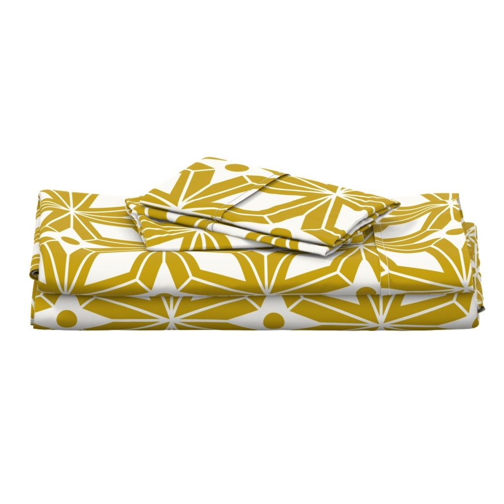 Langshan Full Bed Set featuring Starburst - Midcentury Modern Geometric Gold Large Scale by heatherdutton
