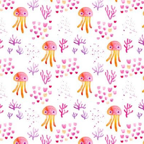 watercolor under water ocean life jelly fish and coral squid pink orange white SMALL
