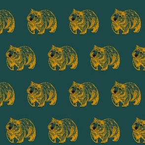 Wombat trot-OrangeOnGreen-less confused