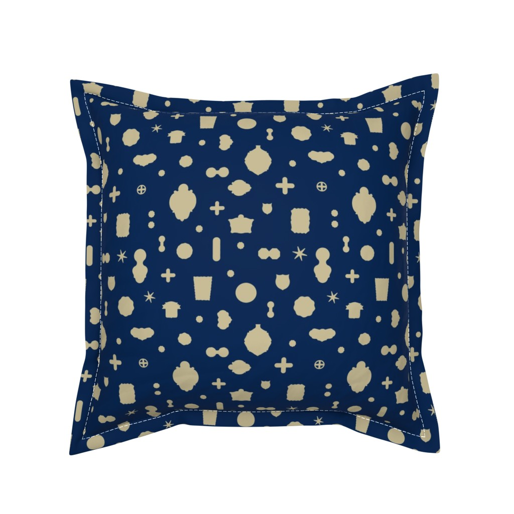 Serama Throw Pillow featuring Tutto pop - blue/cream by cinneworthington