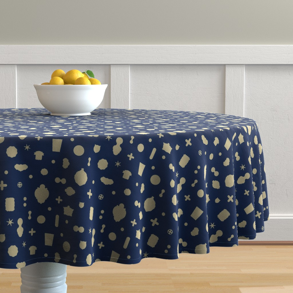 Malay Round Tablecloth featuring Tutto pop - blue/cream by cinneworthington