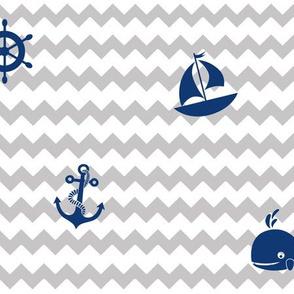 Navy Blue Gray Nautical Boy Nursery