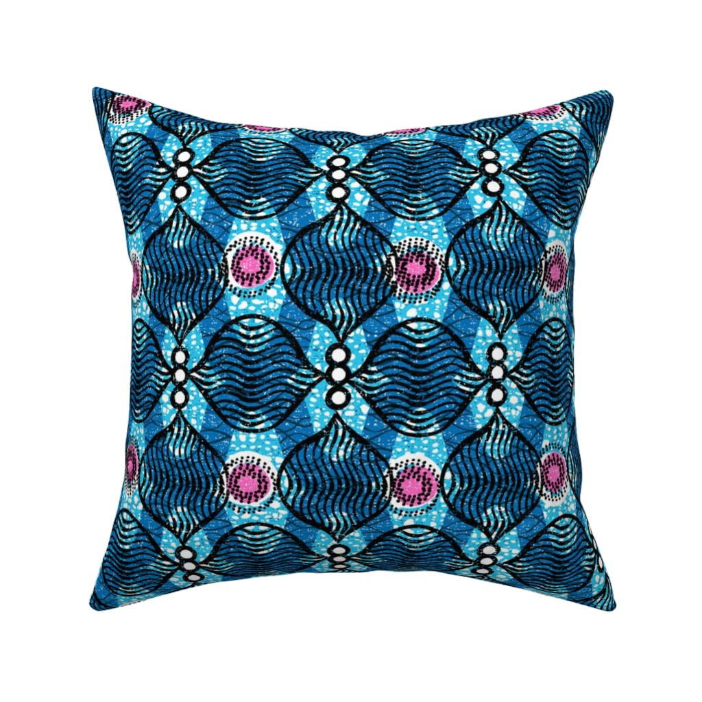 Catalan Throw Pillow featuring Traverse -Blue - African by ottomanbrim