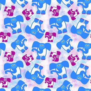Elephants - Blue & Mauve