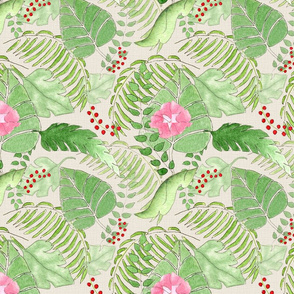 Tropical Leaf Floral  large scale
