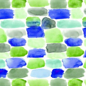 Watercolor blue and green blocks abstract pattern