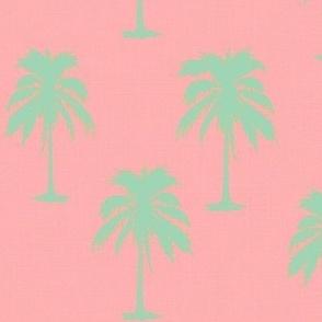 Mint palms on Pink Linen