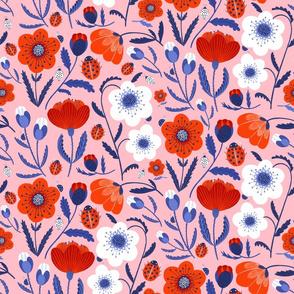poppies and ladybugs