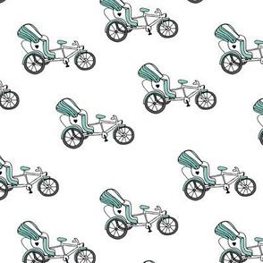 Fun bicycle rickshaw illustration india traffic bike print gender neutral blue