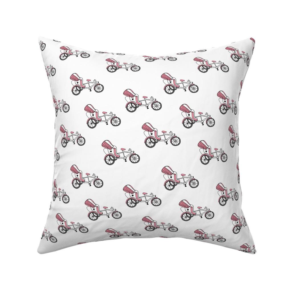 Catalan Throw Pillow featuring Fun bicycle rickshaw illustration india traffic bike print pink by littlesmilemakers