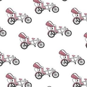 Fun bicycle rickshaw illustration india traffic bike print pink