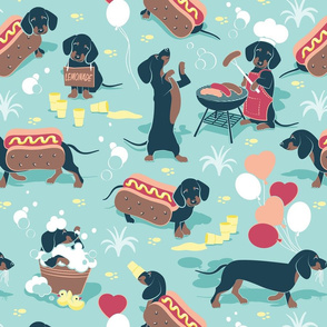 Normal scale // Hot dogs and lemonade // aqua background cute Dachshund sausage dogs