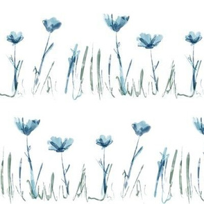 Country Flowers in Blue