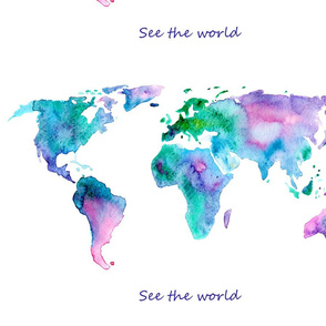 """""""See the world"""" map centered on fat quarter"""